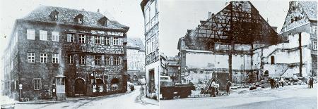 Das Haus zum Marienbild am Pfahlplätzchen, 1966 vor dem Abbruch und während des Abbruchs, wenige Jahre später. (Foto: Dr. Victor Harth)